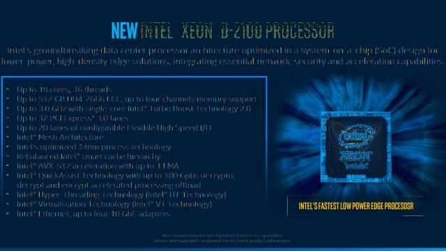 Intel Xeon D-2100: Funktionen