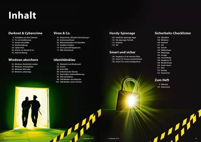 Inhaltsverzeichnis Sonderheft c't Security
