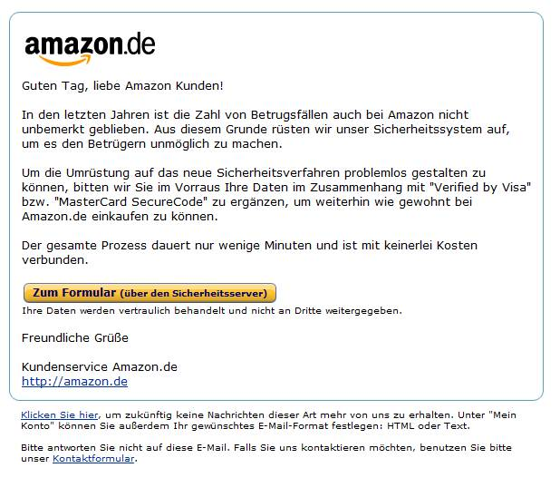 phishing angriff auf amazon nutzer bilderstrecke heise security. Black Bedroom Furniture Sets. Home Design Ideas