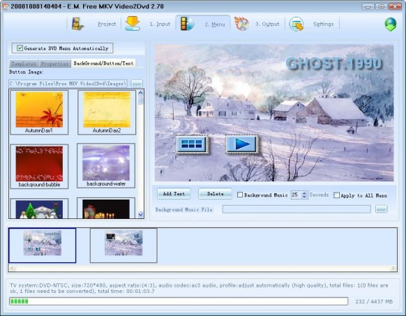 E.M. Free MKV Video2Dvd
