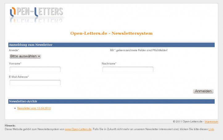 Open-Letters Newslettersystem