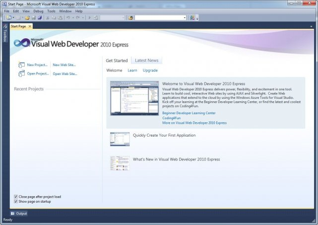 Visual Web Developer 2010 Express