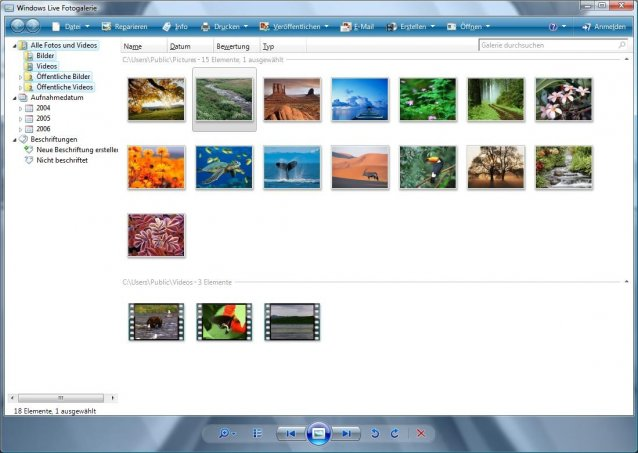 Windows Live Essentials: Fotogalerie