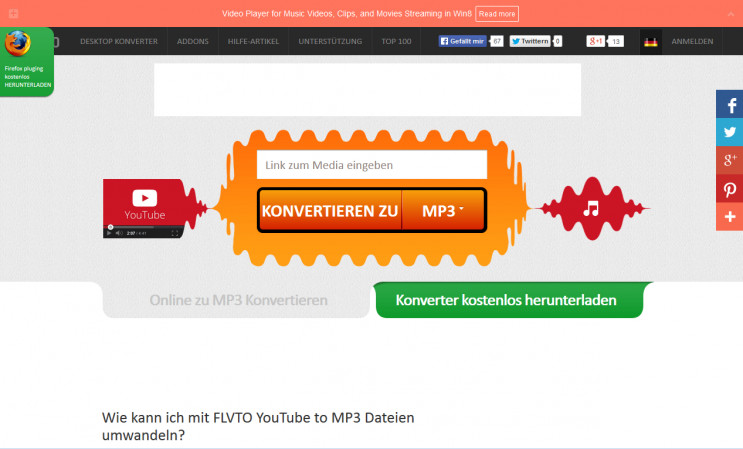 flvto - YouTube zu MP3 Konverter