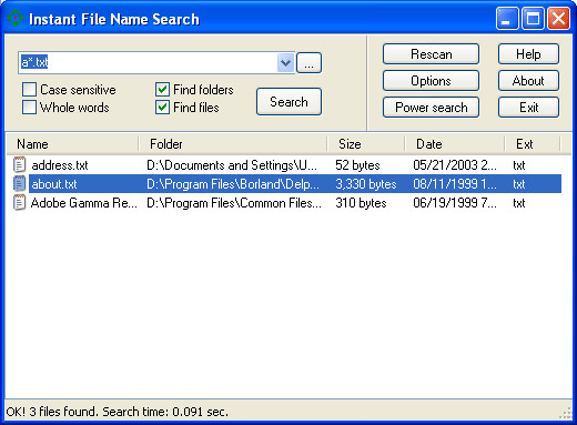 Instant File Name Search