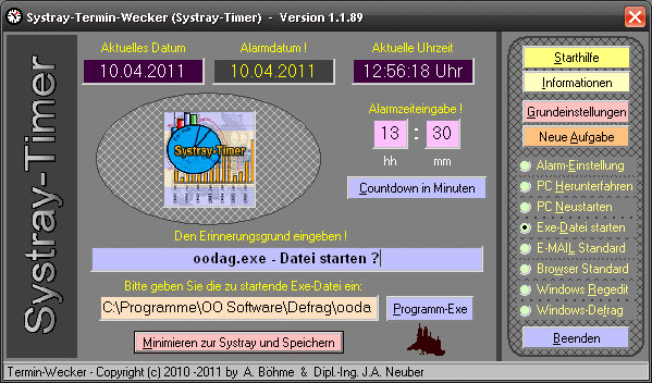 Systray-Termin-Wecker (Systray-Timer)