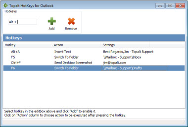 Topalt Hotkeys for Outlook