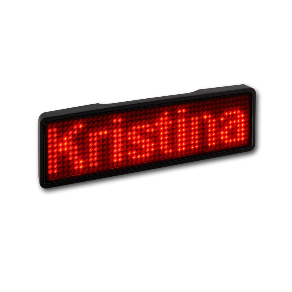 rot - LED Namensschild - Rahmen schwarz, LED rot