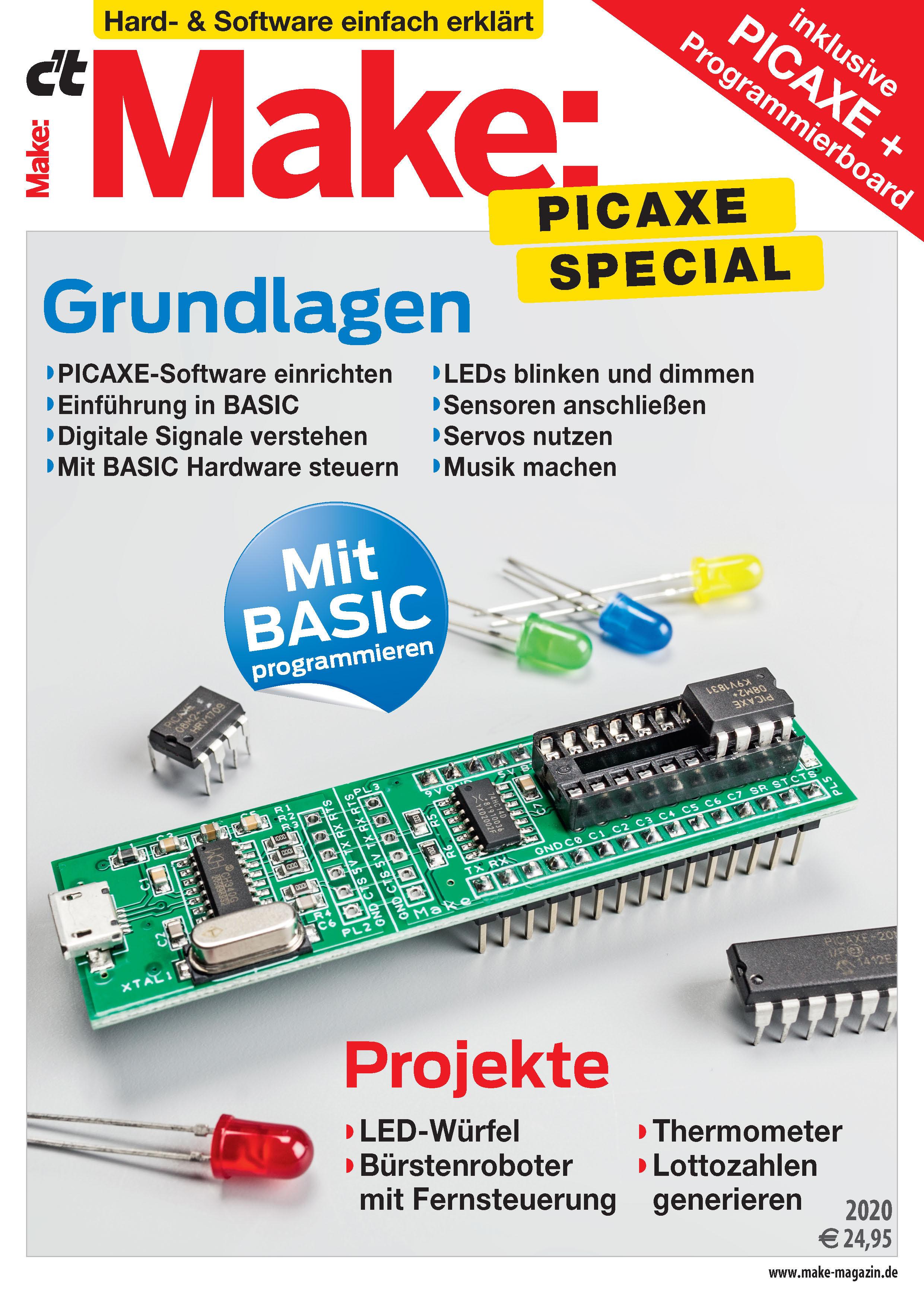 Make PICAXE Special 2020 inkl. Nano-Axe-Board + PICAXE-08M2