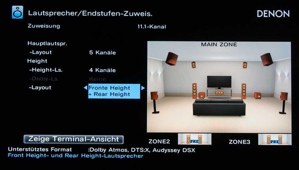 ...als auch solche mit Heights-Boxen. In beiden Fällen ist ein Parallelbetrieb mit Dolby Atmos möglich.