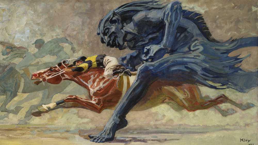 Gemälde Wettrennen zwischen einem Biest und einem Pferd mit Jockey