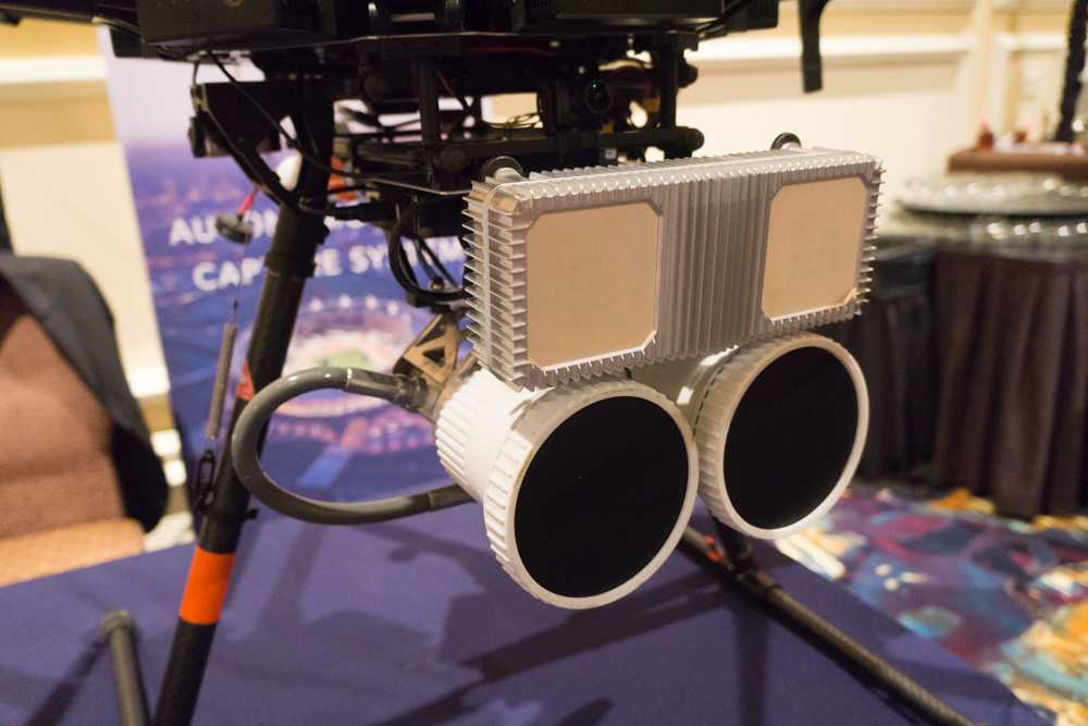 Dem Hersteller geht es bei DrohneHunter vor allem darum, sein Radar (das rechteckige Modul) zu bewerben.