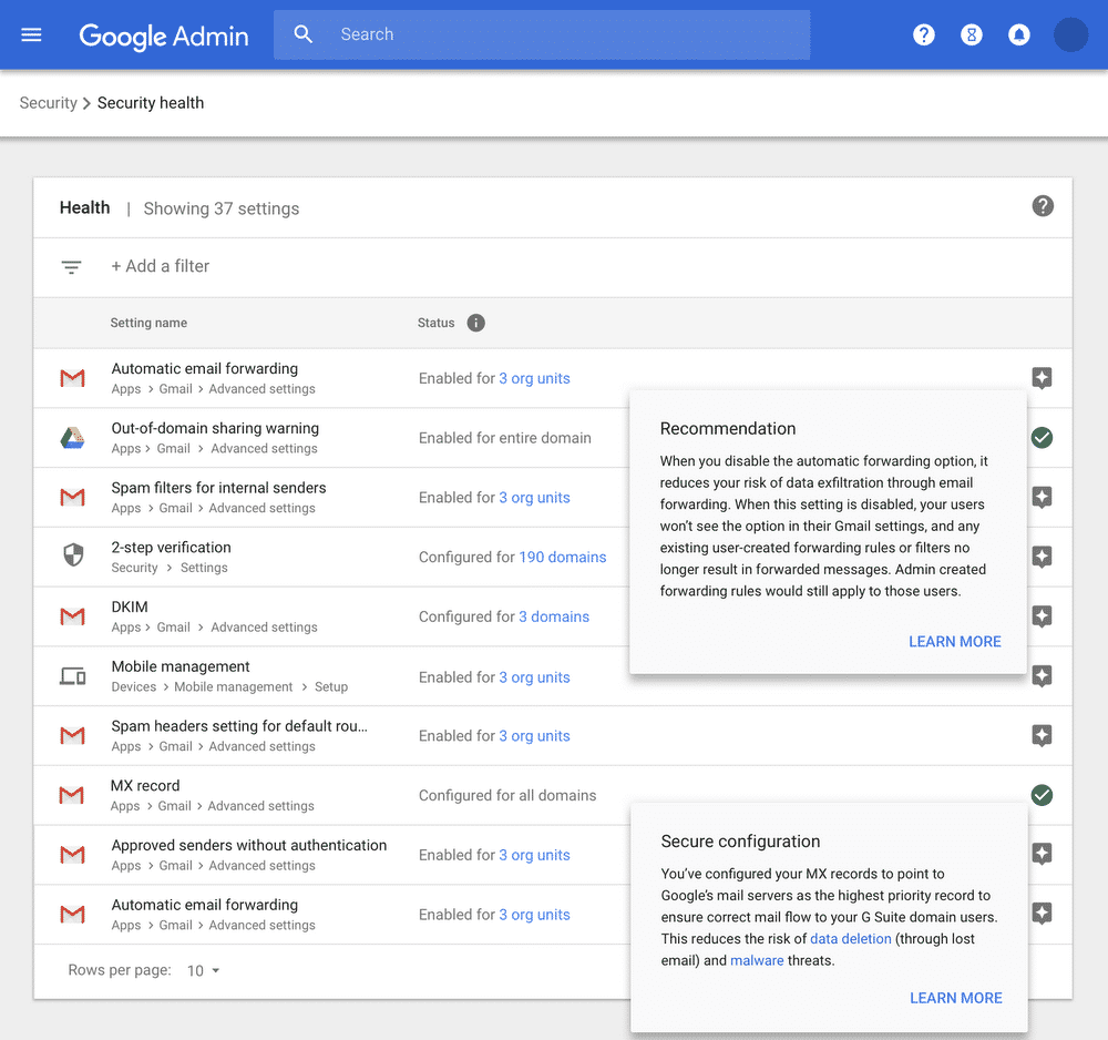 Hinweis: Google will dem Administrator mit vielen Empfehlungen bei den Einstellungen zur Datensicherheit weiterhelfen.