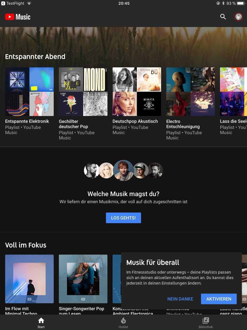 Auf Wunsch passt passt YouTube Music seine Playlisten an den Aufenthaltsort des Nutzers an. Am Flughafen gibt's dann entspannende Wartemusik.