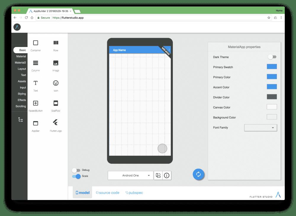 Mit dem Community-Tool Flutter Studio lassen sich Flutter Screens web-basiert erstellen.