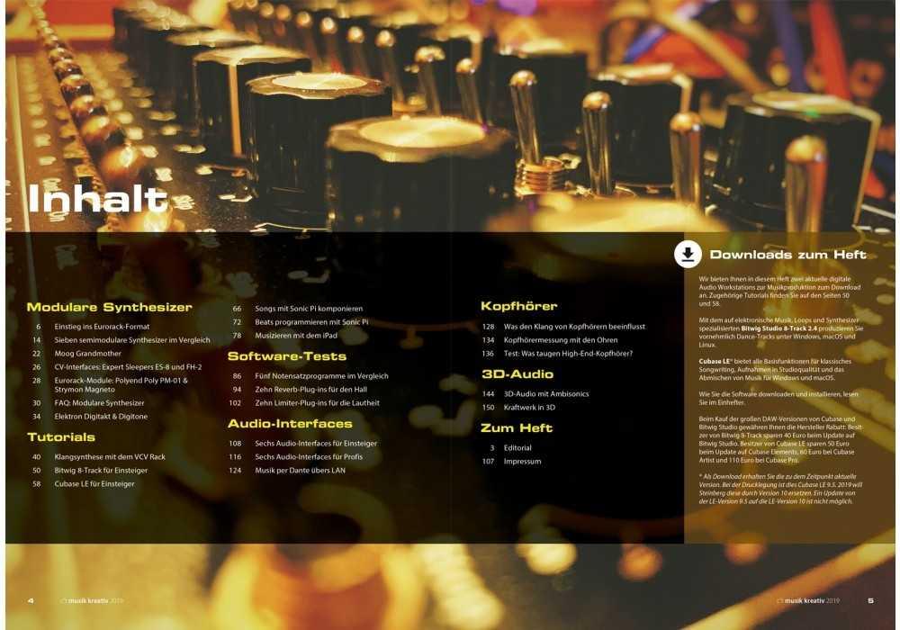 Der Inhalt zeigt die Themen im Heft im Überblick.