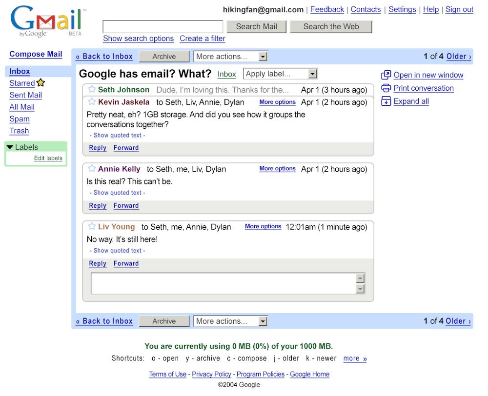 Eine Schönheit war Gmail 2004 nicht unbedingt.