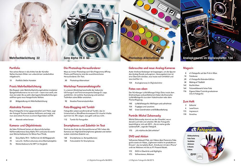 c't Digitale Fotografie 6/2015 Inhaltsübersicht