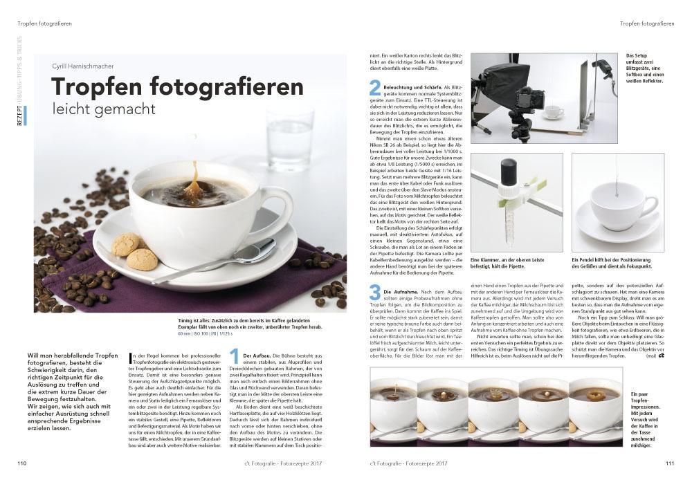 Autor Cyrill Harnischmacher zeigt, wie Sie auch mit einfacher Ausrüstung erfolgreich herabfallende Tropfen fotografieren.