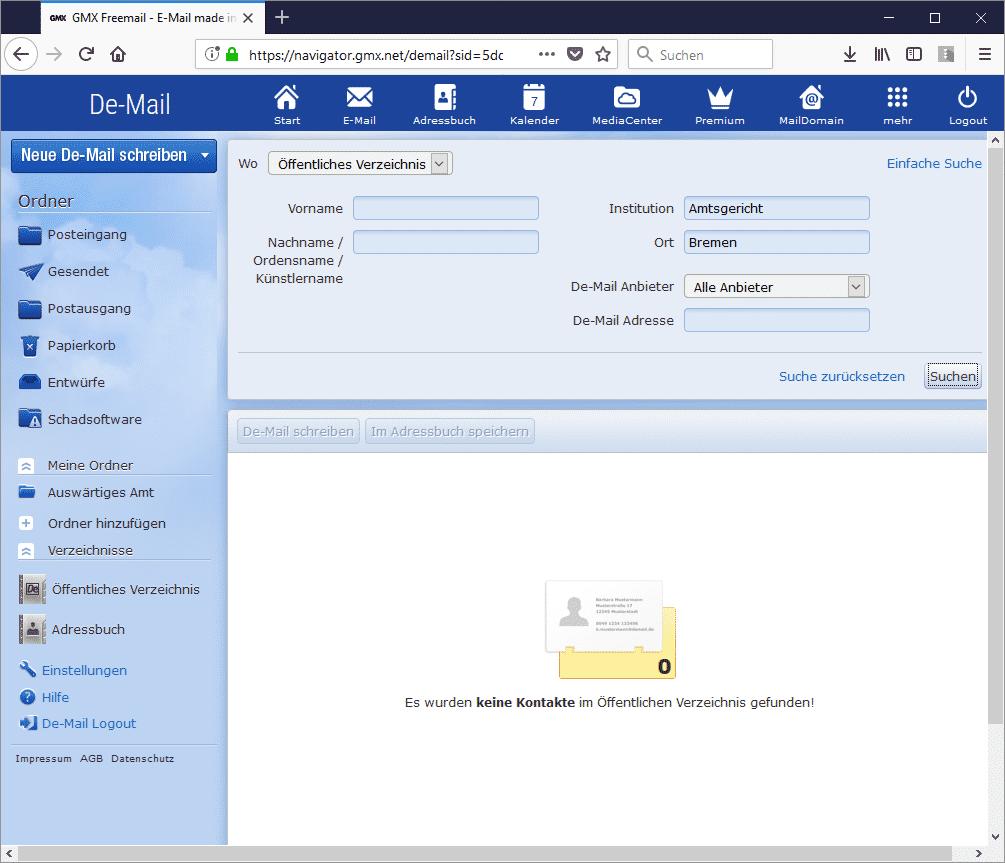Die Suche nach einem Gericht funktionierte eine Zeit lang unter anderem bei GMX nicht. Falls deshalb eine Frist versäumt wurde, ließ sich das technische Problem mit einem Screenshot beweisen.