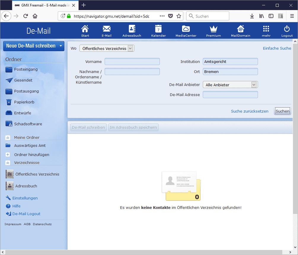 Die Suche nach einen Gericht funktioniert derzeit unter anderem bei GMX nicht. Mit dem Screenshot lässt sich das im zweifel auch beweisen, falls deswegen eine Frist versäumt wurde.