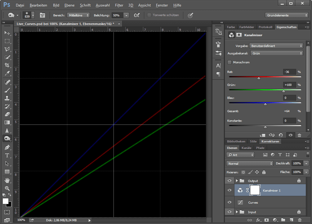 Amiraghyans PSD-Datei zeigt anhand von Gradationskurven, was Einstellungsebenen in Photoshop bewirken.