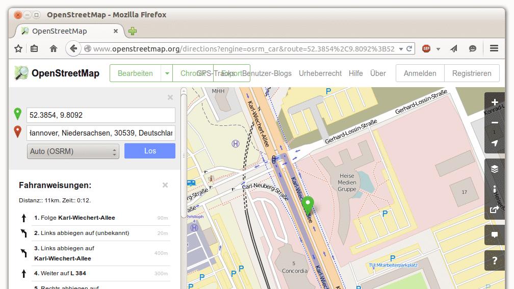 OpenStreetMap integriert Routensuche