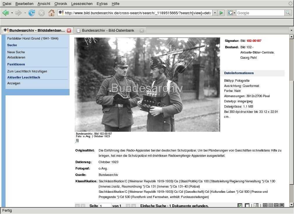 Bild aus Bundesarchiv: Einführung des Radioapparates bei der deutschen Schutzpolizei 1923