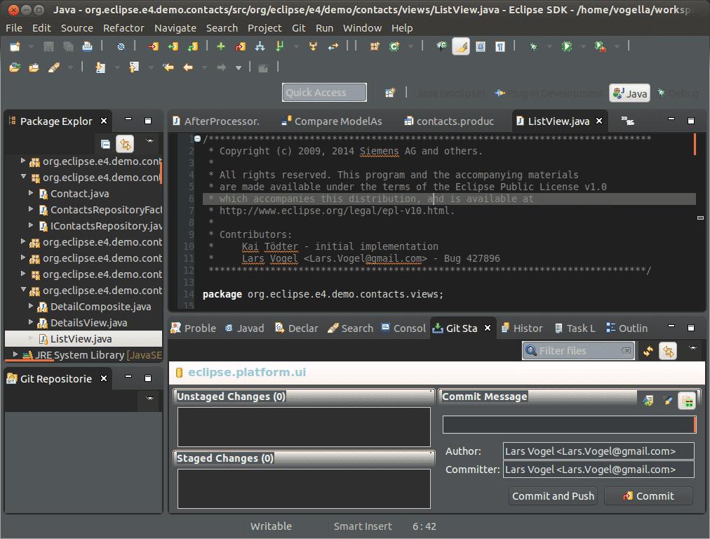 Einen ersten Eindruck vermittelt dieser Screenshot, der Eclipse Luna im Moonrise-Look unter Linux zeigt