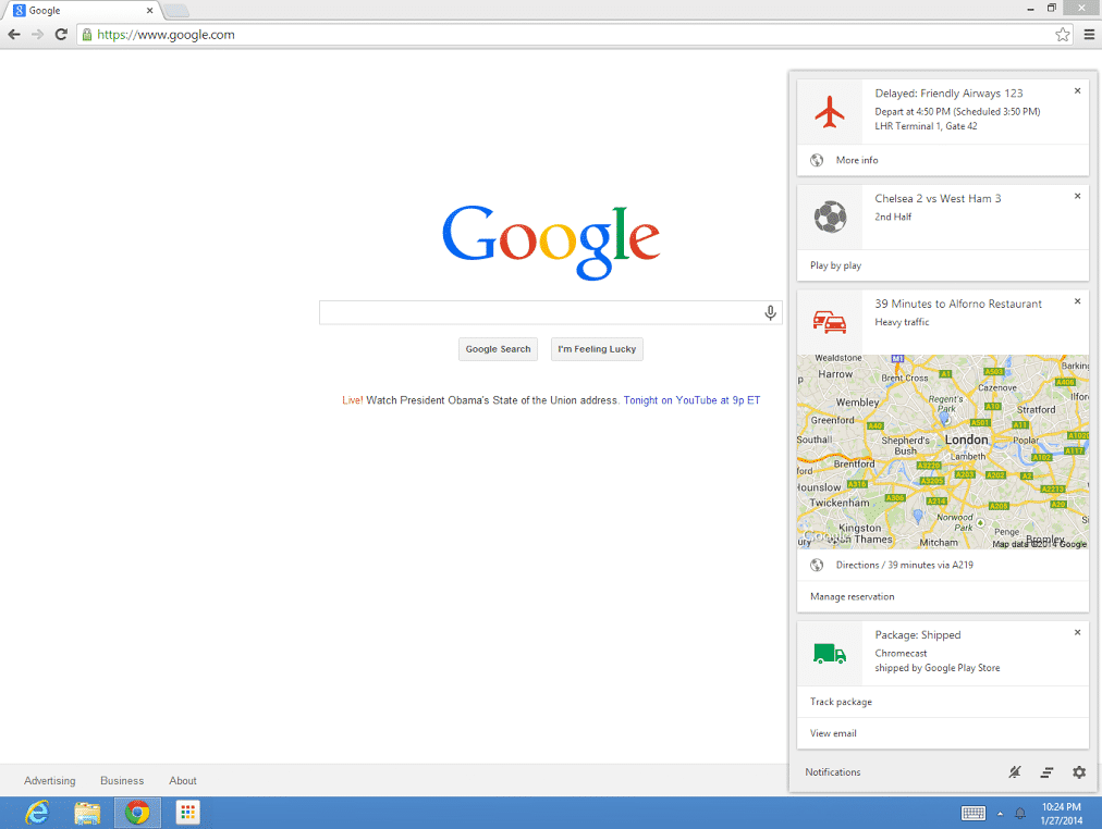 Google Now in Chrome.