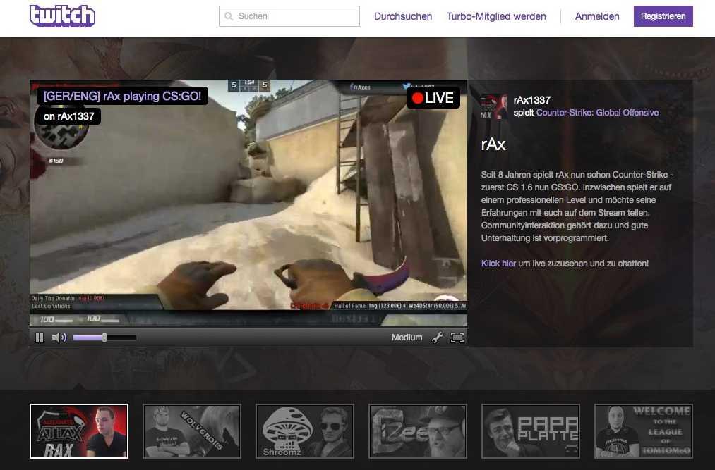 Auf Twitch können die Zuschauer anderen beim Spielen zusehen, hier bei Counter-Strike