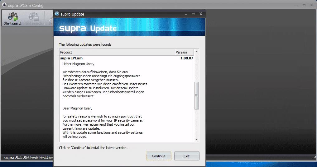 Das mitgelieferte Windows-Tool zeigt beim Start einen Warnhinweis an. Es ist zum Betrieb der Kamera allerdings nicht erforderlich ? viele Nutzer dürften den Hinweis nicht zu Gesicht bekommt.