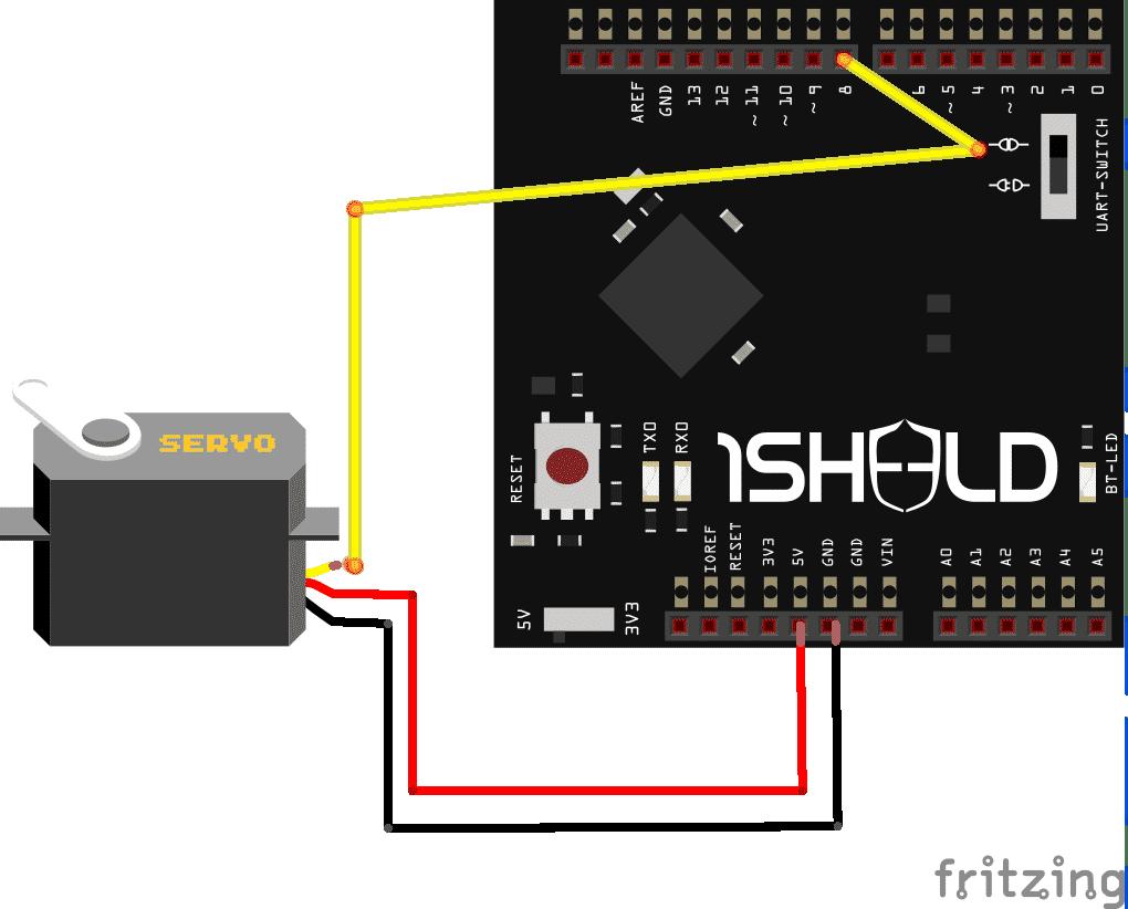 Ein Servo ist über 5V, GND und Pin 8 (Steuerleitung) an 1Sheeld+/Arduino Uno angeschlossen