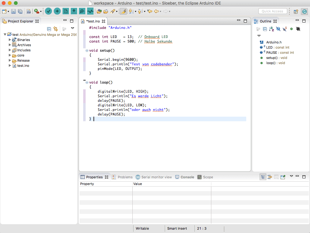 Arduino-Perspektive in Eclipse