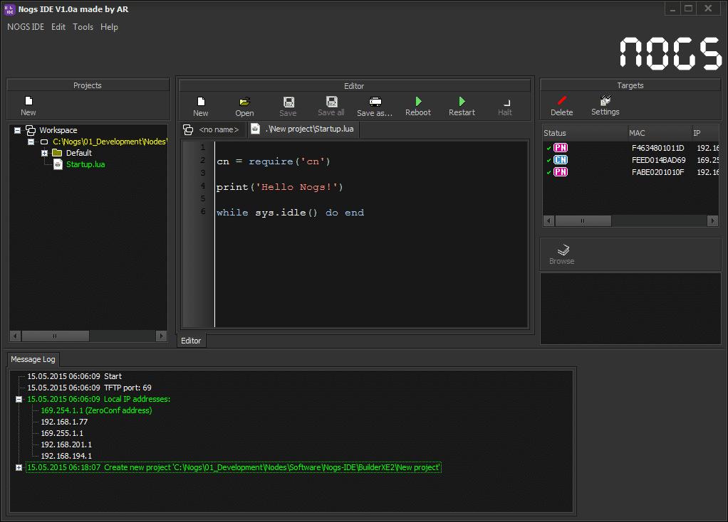 """""""Hello World"""" in Lua, erstellt mit der Nogs-Entwicklungsumgebung."""
