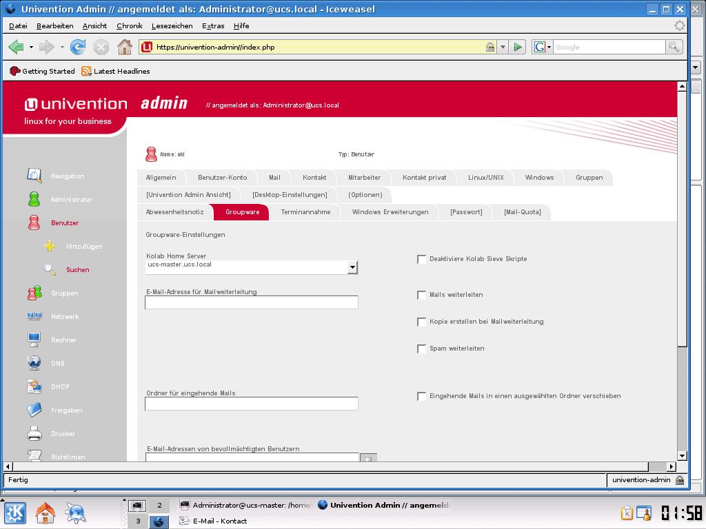 Das webbasierte Administrationswerkzeug Univention Admin