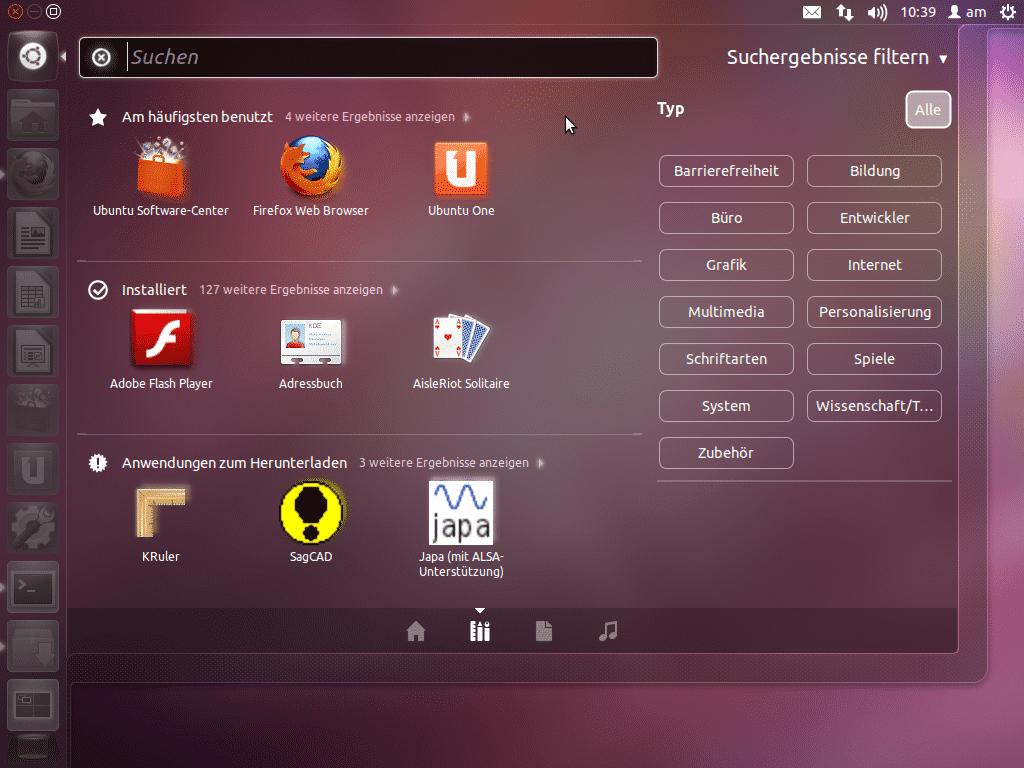 Dateien und Programme lassen sich im Dash filtern.