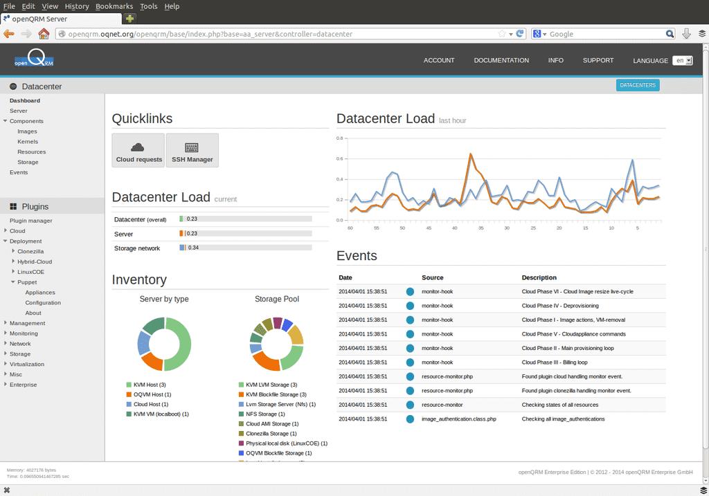 Mit OpenQRM kann man physikalische Server, virtuelle Maschinen und Cloud-Umgebungen in einer übergreifenden Managementkonsole verwalten.
