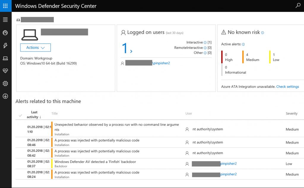 So sieht ein FinFisher-Angriff in der Oberfläche von Windows Defender ATP aus.