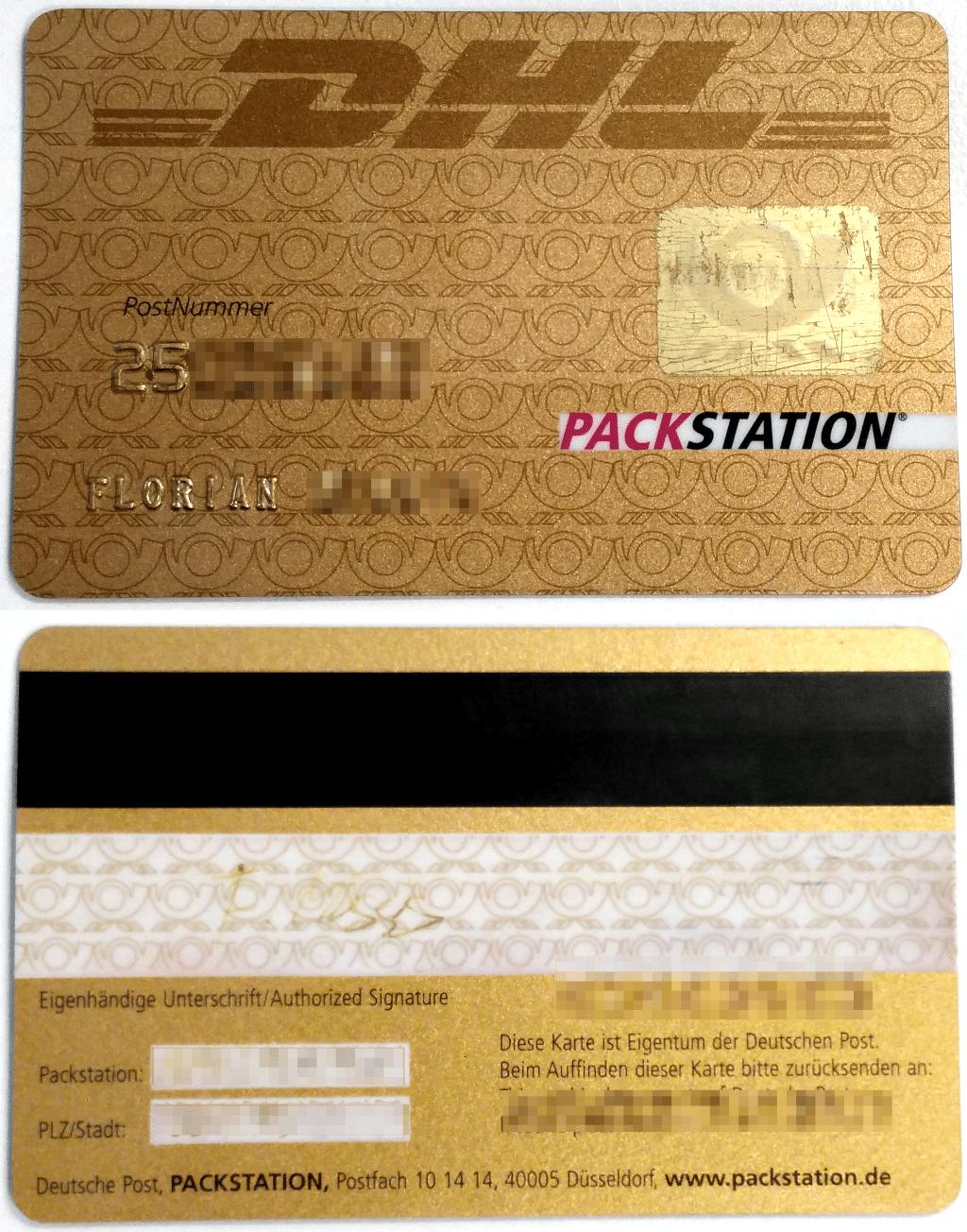 Vor- und Rückseite der DHL-Kundenkarte. Bei diesem Exemplar hat das Hologramm auf der Vorderseite schon gelitten.