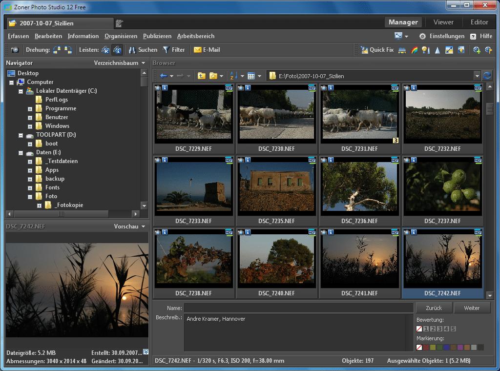 Das Zoner PhotoStudio zeigt Vorschaubilder und dazugehörige Metadaten an.