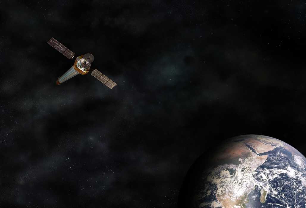 Künstlerische Darstellung Chandras und der Erde