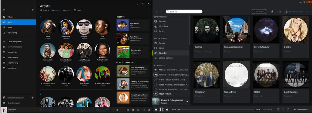 Kleines Ratespiel: Welches ist Microsofts kommende Musik-App, welches Spotify?
