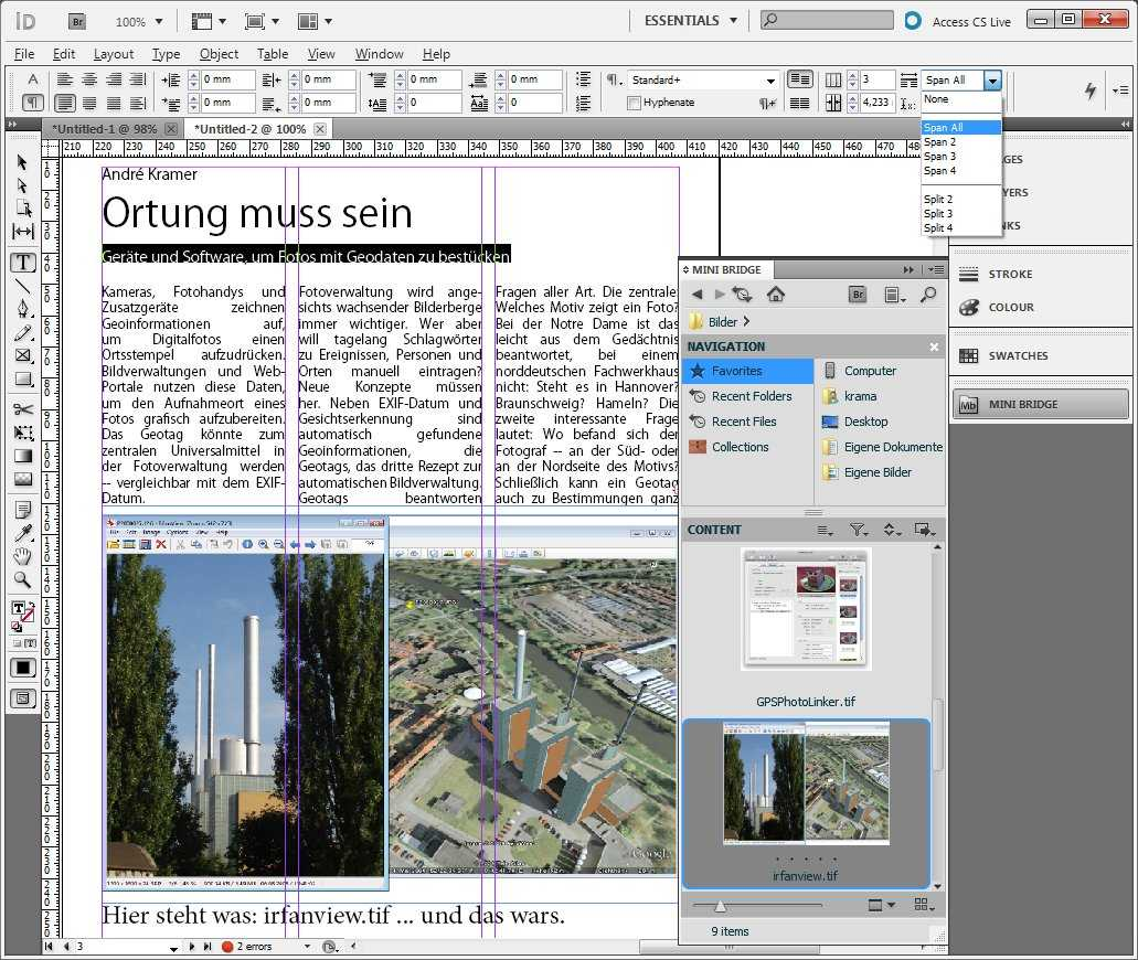 InDesign generiert Bildunterschriften aus Metadaten und lässt Text über mehrere Spalten laufen.