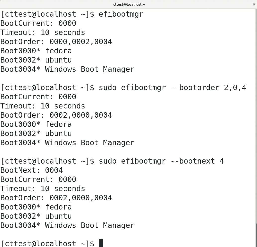 Über das Werkzeug Efibootmgr können Sie die Boot-Reihenfolge des BIOS verändern oder dieses anweisen, einmalig ein bestimmtes Betriebssystem zu starten.