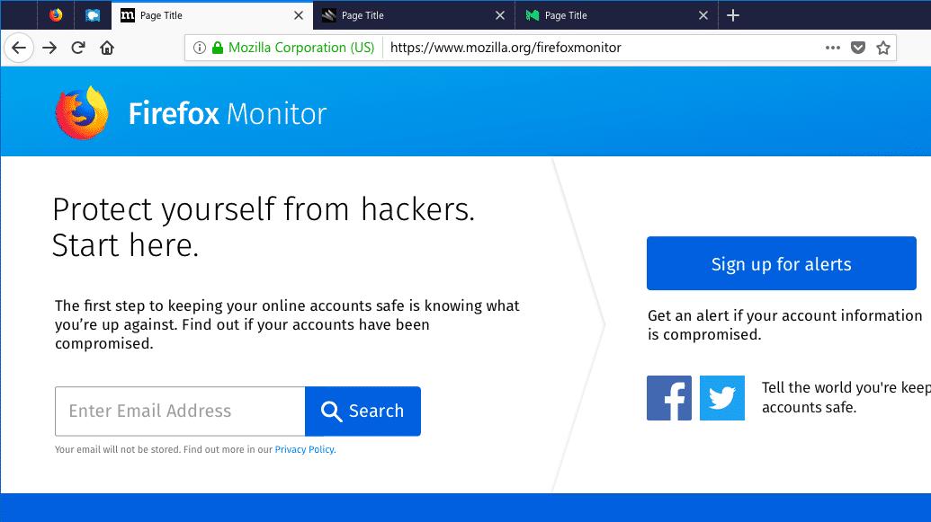 Firefox Monitor: Der Browser warnt vor gehackten Online-Konten