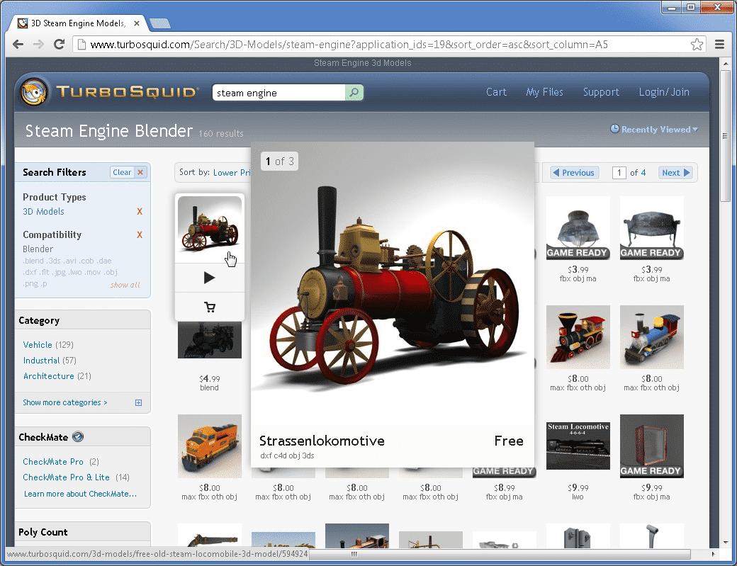 Viele der Modelle bei TurboSquid kosten Geld – mit dem passenden Suchfilter zeigt die Webseite aber die kostenlosen Modelle ganz oben an.