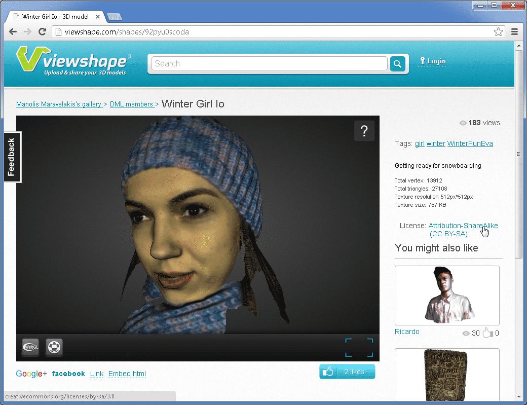 Viewshape wird von Artec betrieben, einem Hersteller professioneller 3D-Scan-Technik, weshalb man dort viele hochwertige und farbige Scans findet.