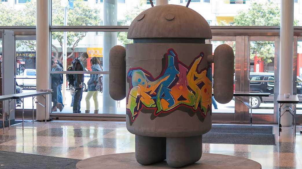 Nicht nur der Graffiti-Androide weist darauf hin, dass das Mobilbetriebssystem eine große Rolle auf der Google-Messe spielen wird.