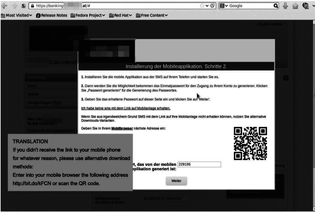 Die gefälschte Online-Banking-Seite führt durch die Installation des Smartphone-Trojaners.